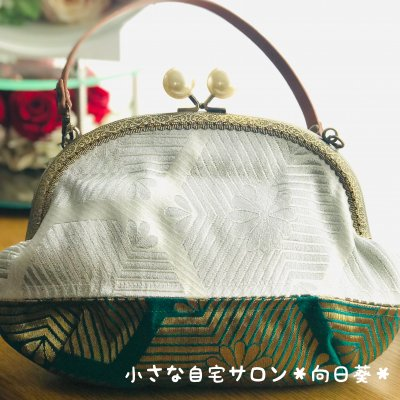 レトロで可愛いお出掛けバッグ|着物リメイク和柄バッグ/がま口・緑【高...