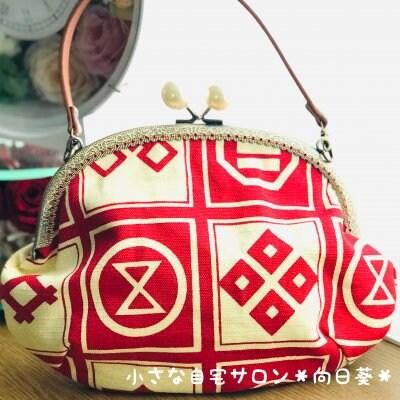 レトロで可愛いお出掛けバッグ|着物リメイク和柄バッグ/がま口・赤【高ポイント還元】