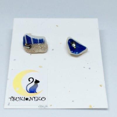 シーグラスのピアス(4月・ブラックダイヤモンド)