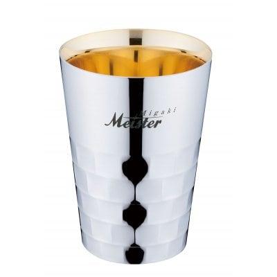 【メイドイン燕の逸品】Migaki Meister タンブラーS<ユキワブランドが手掛けた堅牢で美しい二重構造ステンレスタンブラー。お酒を美味しく引き立てると共に、見た目にも豪華な内面24金メッキ仕上げは慶事の贈答品にぴったり!>【ギフト包装・のし紙対応】