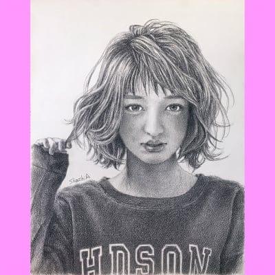 オリジナル 鉛筆画 ポートレート