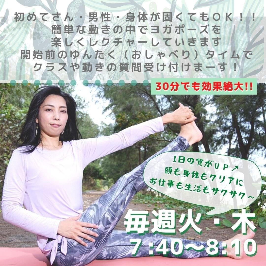 【30分の朝ヨガオンライン】沖縄より配信!!Zoomクラスヨガチケット/朝活1日30分で自然体で健康美をゲット!!のイメージその2