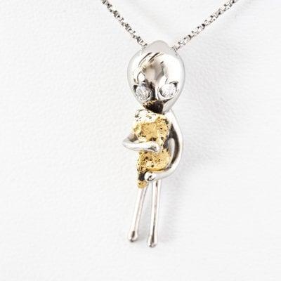 宇宙に帰りたい宇宙人ネックレス 目にダイヤモンド SV925