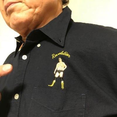 天龍×ハオミン刺繍ボタンダウンシャツ(ホワイト)Mサイズの画像3
