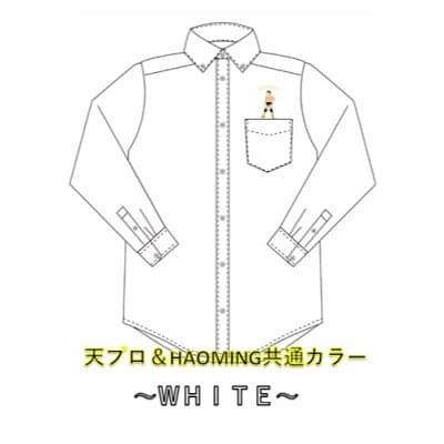 天龍×ハオミン刺繍ボタンダウンシャツ(ホワイト)XLサイズ