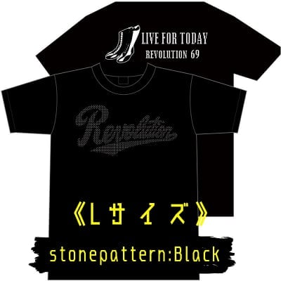 LIVE FOR TODAY&RevolutionラインストーンTシャツ《ブラック》Lサイズ