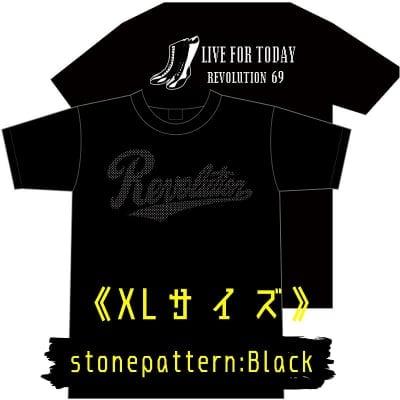 【新作】LIVEFORTODAY&RevolutionラインストーンTシャツ《ブラック》XLサイズ