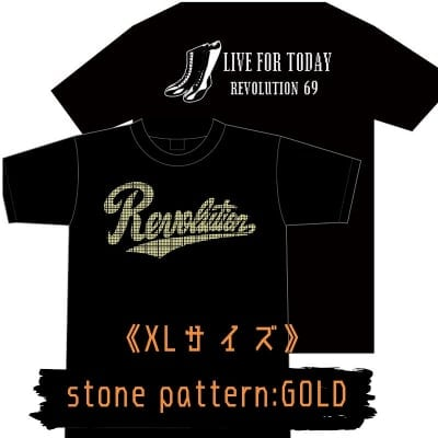 LIVE FOR TODAY&RevolutionラインストーンTシャツ《ゴールド》XLサイズ