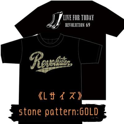 【新作】LIVEFORTODAY&RevolutionラインストーンTシャツ《ゴールド》Lサイズ