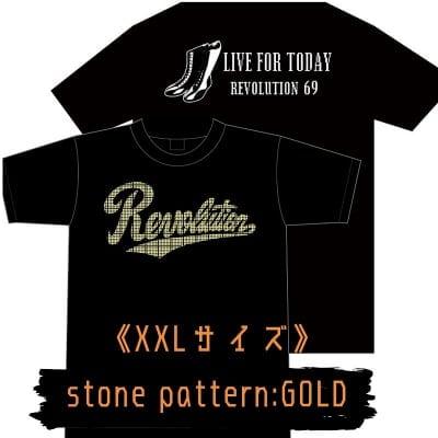 LIVE FOR TODAY&RevolutionラインストーンTシャツ《ゴールド》XXLサイズ