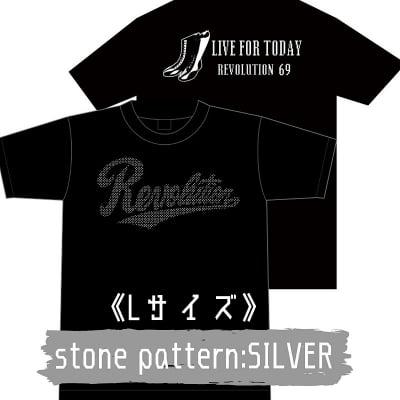 【新作】LIVEFORTODAY&RevolutionラインストーンTシャツ《シルバー》Lサイズ