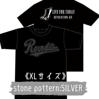 【新作】LIVEFORTODAY&RevolutionラインストーンTシャツ《シルバー》XLサイズ