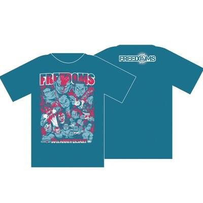 FREEDOMS旗揚げ10周年記念Tシャツ 青 XLサイズ