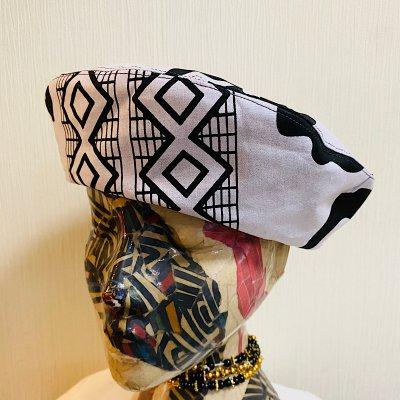 [H様専用]デニムとアフリカ布のリバーシブルビックベレー(Lサイズ)ゆったりサイズの帽子