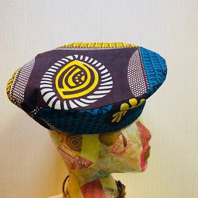 アフリカ布 シンプルベレー帽(Mサイズ)
