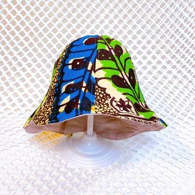 アフリカ布のチューリップハット(ベビーsize)サイズ調整付き