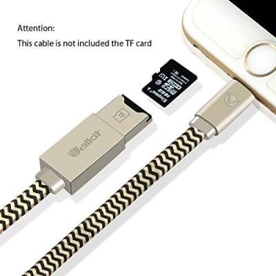 iPhoneメモリーカードリーダー,【Valkit】iPhone Lightning ケーブル 2in1 USBケーブル アダプタ マイクロ SDカードリーダー 急速充電 高速データ転送 iPhone5/6用 iPad mini/air/pro用,(SDカードを含まない)