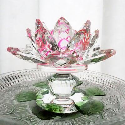 クリスタルガラスのハスの花 ピンク