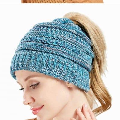 ポニーテールニット帽《ブルー》