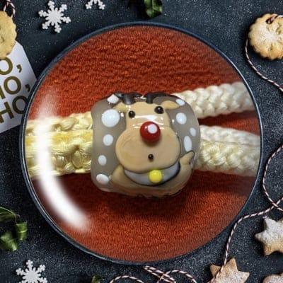 小川様専用 好評クリスマス限定とんぼ玉 トナカイとクリスマスホーリー帯留め&ネックレス