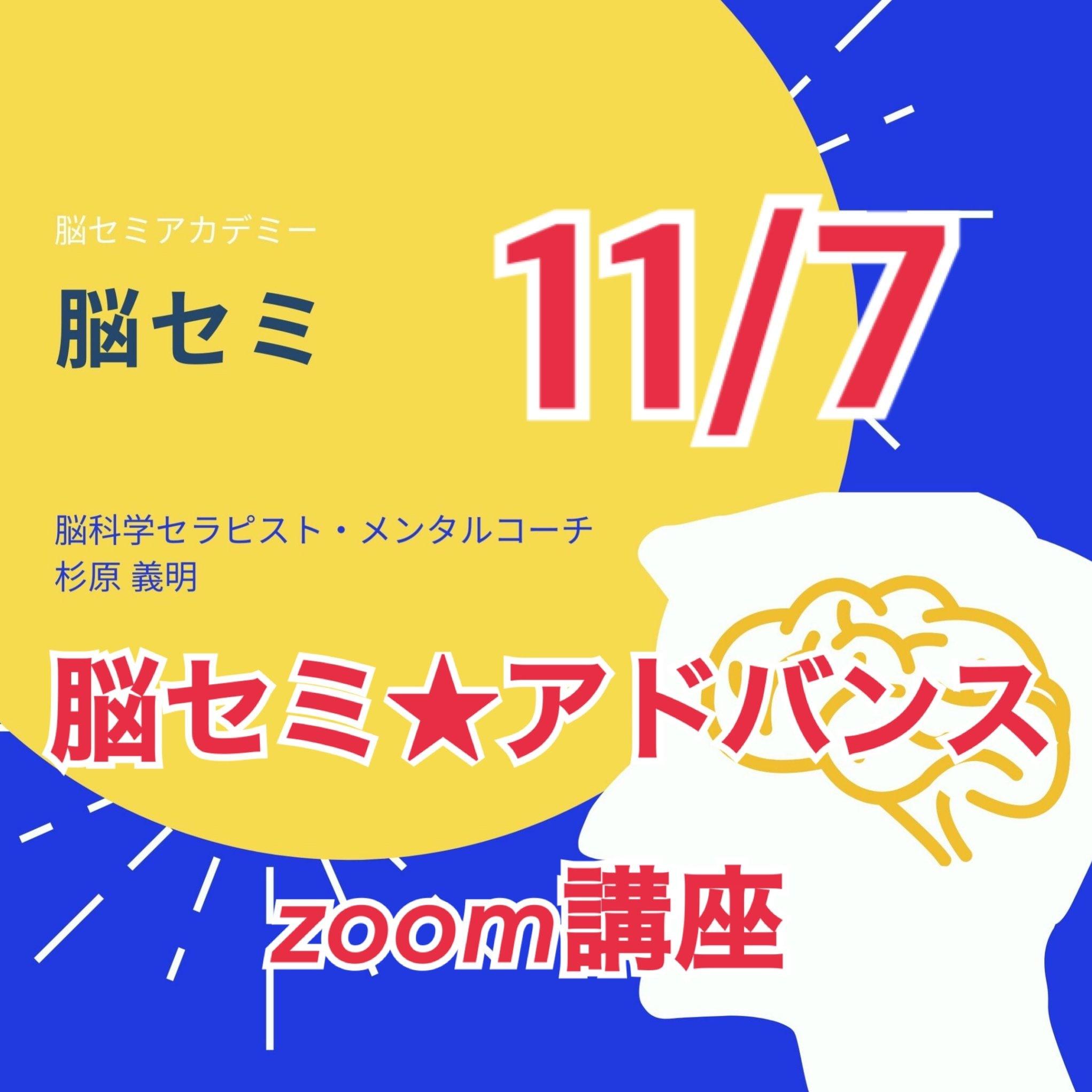 11/7 脳セミ ZOOMオンライン  ベーシック&アドバンス講座のイメージその1