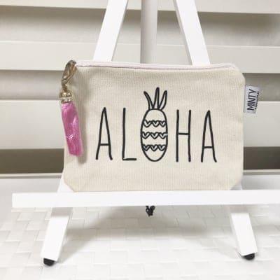 【Minty Hawaii】コスメポーチ 〜アロハパイナップル/ピンク〜