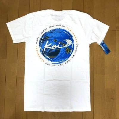 【Kai Clothing】メンズTシャツ  〜メニーオーシャンズ/ホワイト/コットン 〜 Sサイズ