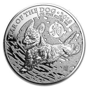 『GB 干支イヌ銀貨 ドッグ 1オンス 2018年 』オーストラリアパース造幣局発行 純銀コイン