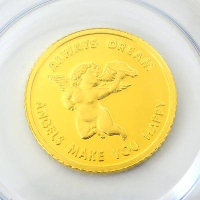 【新品・未開封】 『エンジェル金貨 1/25オンス』  スイス・パンプ社発行 1.24gの純金  品位:K24 (99.99%) 純金 24金  ゴールド コイン 天使 金貨  《安心の本物保証》 【保証書付き・巾着袋入り】