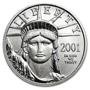 【新品・未開封】  『イーグル プラチナコイン 1/4オンス 2001年製  クリアケース入り』