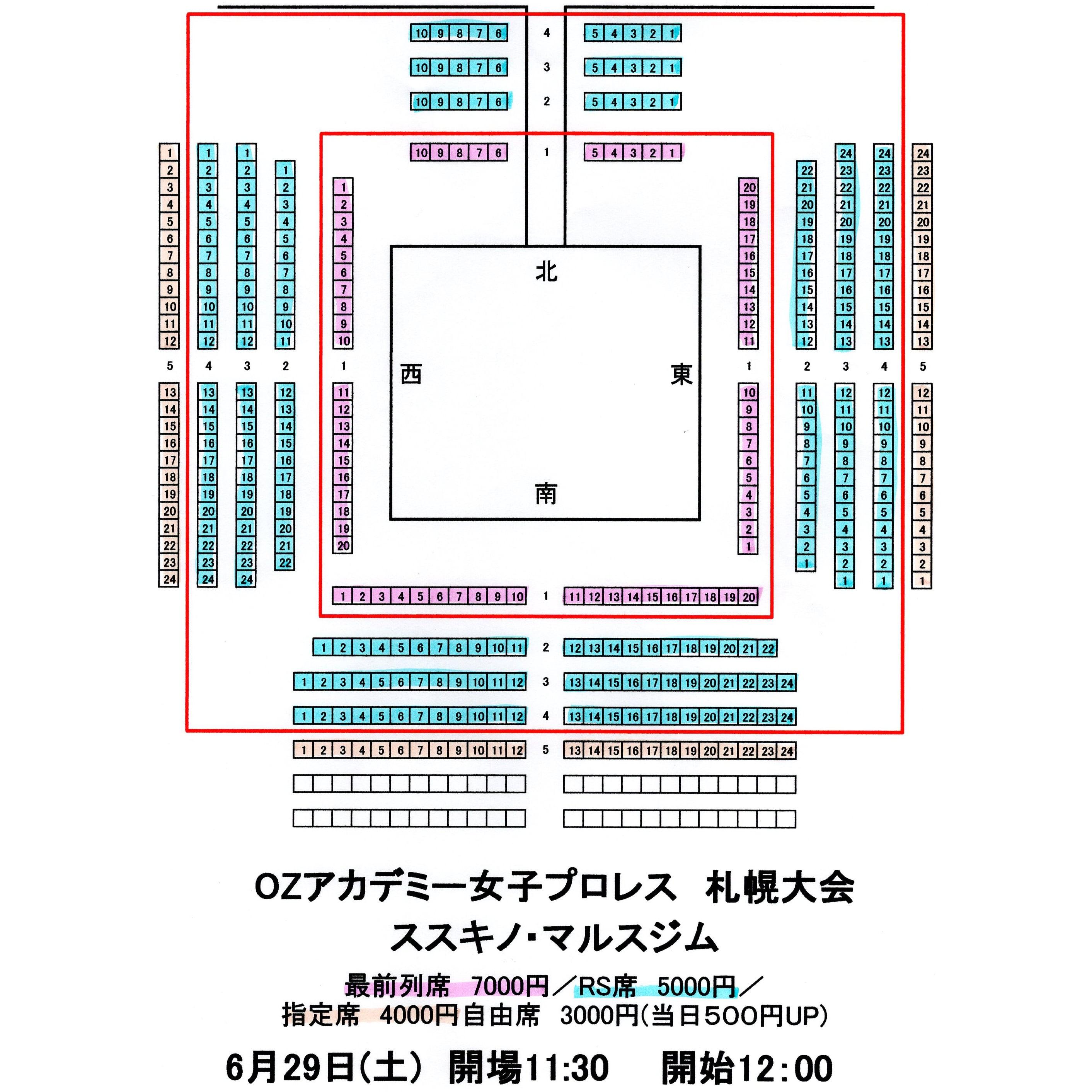 6月29日(土)ススキノ・マルスジム[指定席]のイメージその2