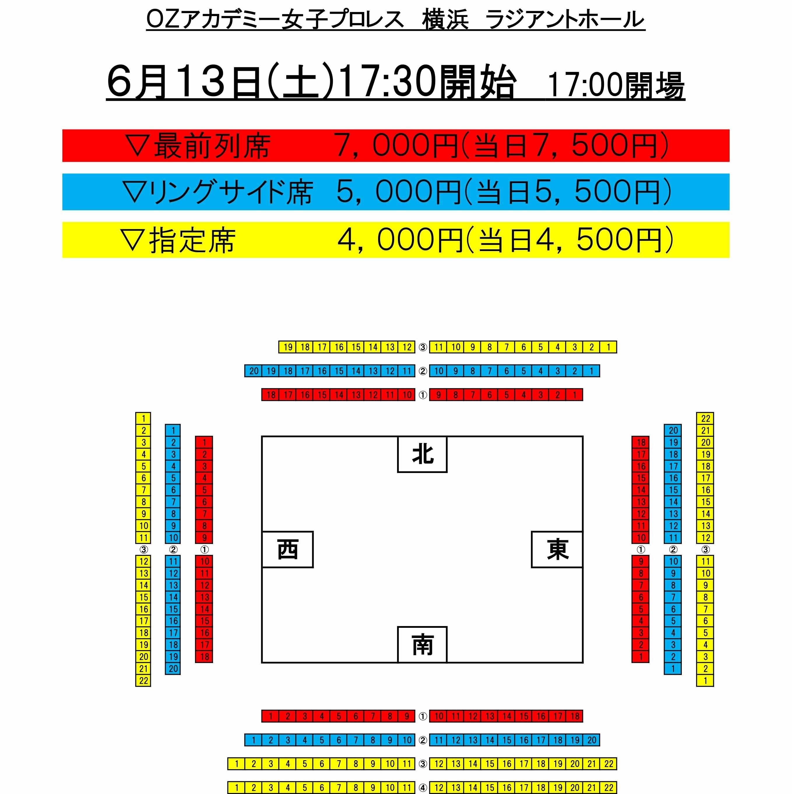 6月13日(土)横浜 ラジアントホール[リングサイド席]のイメージその2
