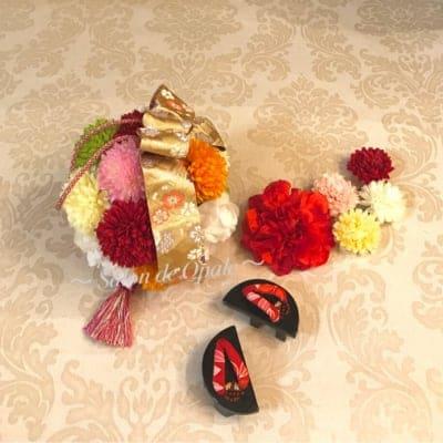 【子ども用】ボールブーケ&髪飾りセット(花ピン)《西陣織&組み紐リボン》七五三参りに  カラーオーダー