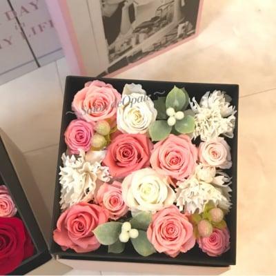 〜opaleオリジナル〜 BOXアレンジL(ピンク) プリザーブドフラワーとパフュームフラワーのフラワーアレンジメント 全国配送 誕生日プ結婚祝い 新築祝い 引き出物 フラワーギフト 枯れない花