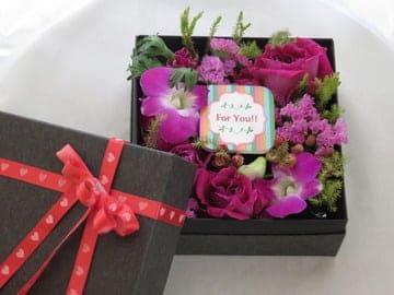 生花のボックスフラワー