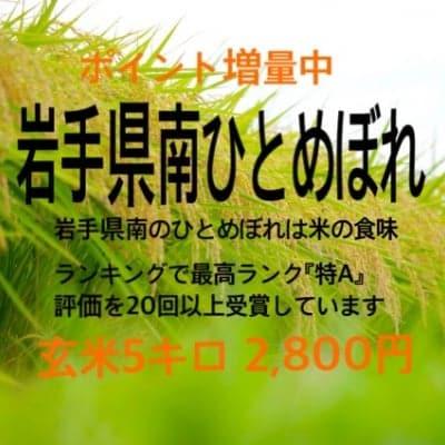 【ポイント増量中】特A受賞回数多数 岩手県南おいしいお米「ひとめぼれ(玄米)5㎏」