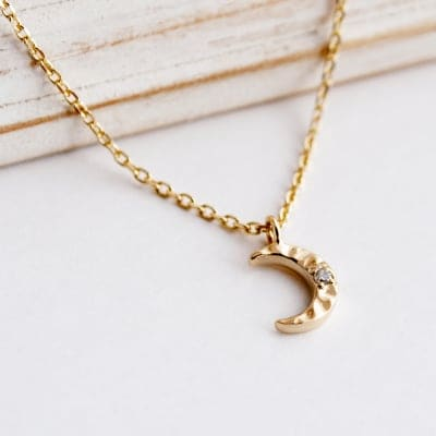 [MOON] Necklace K10×Dia(0.01ct)