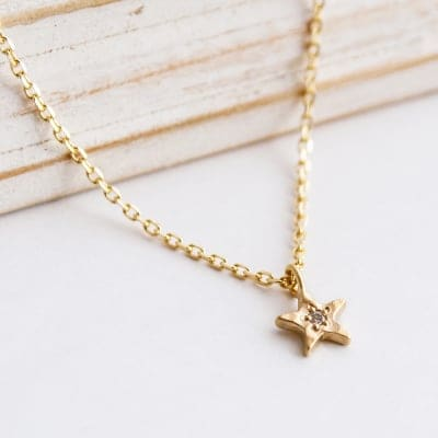 [STAR] Necklace K10×Dia(0.01ct)