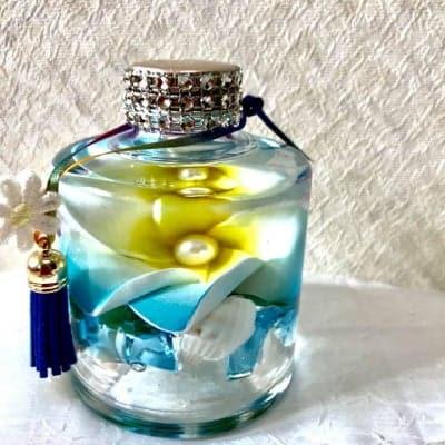 ハワイアンハーバリウム/プルメリア+自然石【ブルー】