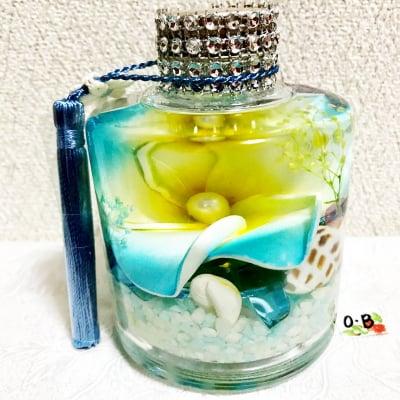 ハワイアンハーバリウム/プルメリア+自然石+LEDライト付【ブルー】【送料無料】