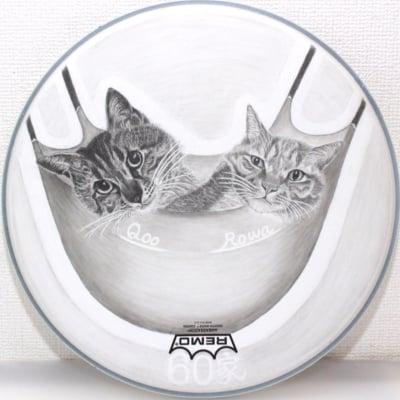 チャリティー!世界にたった一つ!ペットの似顔絵 Lサイズ 14インチ 日本初 ドラムアート ドラムヘッド プレゼントに最適!