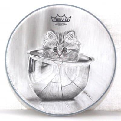 チャリティー!世界にたった一つ!ペットの似顔絵 Sサイズ 10インチ 日本初 ドラムアート ドラムヘッド プレゼントに最適!