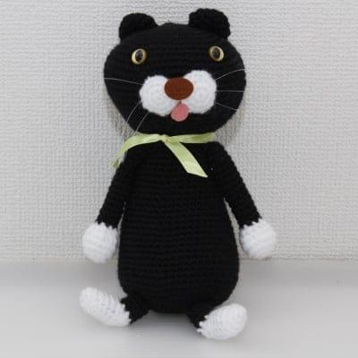 チャリティー!黒猫のハンドメイド編みぐるみ プレゼントに最適!