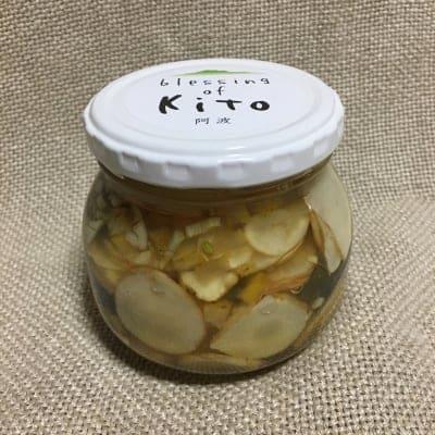 木頭のキクイモと柚子のピクルス・カレー味/自然栽培 / 無添加/ 徳島県木頭から野草とオーガニック野菜のお取り寄せ「阿波・Blessing of kito」/自社栽培のオーガニック野菜やハーブと、自然の中から採集した薬草・野草を販売しています。