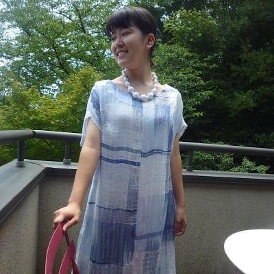 絹と麻糸の藍染チュニック バスト 105cm * 身丈 90cm