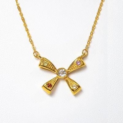 【ホワイトトパーズ】リボン・ゴールドネックレス☆スリランカ天然宝石 チェーン40㎝