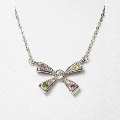 【ホワイトトパーズ】リボン・シルバーネックレス☆スリランカ天然宝石 チェーン40㎝