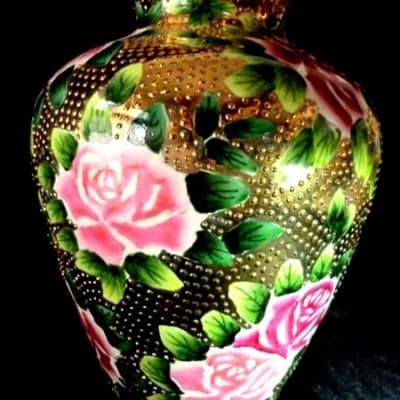美品!里帰り1911オールドノリタケビーディング薔薇花瓶