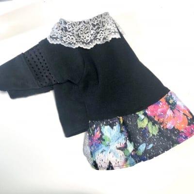 キラキラエレガントな花柄ワンピース黒✖️黒花柄/初回ご購入は1000円割引!
