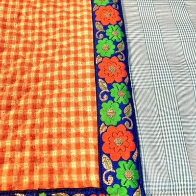 鮮やかなオレンジと花柄リボンのカフェマットの画像4